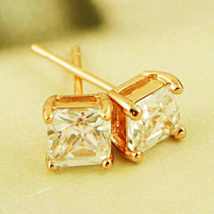 9K Real Gold Filled Square CZ Studs